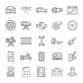 Auto Workshop Linear Icons Set. Car Service. Instruments, Equipment And Spare Parts. Thin Line Conto poster