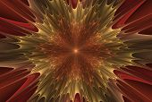 Beautiful Fractal Abstract Explosion Star Illustration - Red And Yellow - Background, Fractal Explos poster