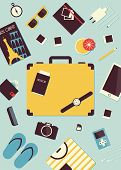 Summer Travel Flat Vector Poster. Set Of Travel Equipment And Different Stuff For Journey. poster