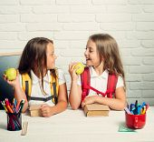 Back To School And Home Schooling. Little Girls Eat Apple At Lunch Break. School Time Of Girls. Frie poster