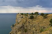 View From The Top Of Cape Alchak Towards The Sea. Summer, Overcast. Surroundings Of Sudak, Crimea. poster