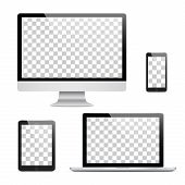 Set Of Realistic Computer Monitor, Laptop, Tablet And Mobile Phone With Isolated On Transparent Scre poster