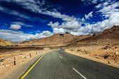 Travel forward journey concept background - Road National Highway 1 (Srinagar-Leh Highway) asphalt r poster