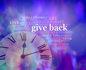 Give Back Some Time  - Vibrant Blue Purple Modern Art Effect Background With A Clock Face Bottom Lef poster