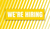 We Are Hiring Job Employee Vacancy Announcement Banner On Yellow Stripe Pattern Background. Vector W poster