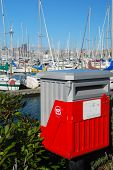 Postbox with auckland harbor background, New Zealand