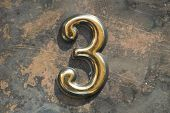 Number Three Lettering, 3 Greeting Card, 3 Number, Volume Figure 3 Year, 3 Year Anniversary Gold Log poster