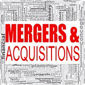 Mergers And Acquisitions Word Cloud. Creative Illustration Of Idea Word Lettering Typography . 3d Re poster