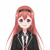Anime Schoolgirl. Cartoon Character In Japanese Classical Style. Manga Avatar. poster