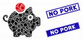 Mosaic Piggy Bank Icon And Rectangular Rubber Prints. Flat Vector Piggy Bank Mosaic Icon Of Randomiz poster