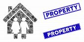 Mosaic Property Icon And Rectangular Stamps. Flat Vector Property Mosaic Icon Of Scattered Rotated R poster