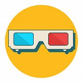 3d Glasses Vector Illustration Of Flat. A Pair Of 3d Glasses Isolated On A Colored Background. Desig poster