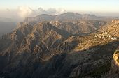 foto of jabal  - Mountain landscape of the Sayq plateau in the morning light Jebel Akhdar mountains Sultanate of Oman - JPG