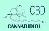 Cbd Cannabis Formula. Structural Model Of Cannabidiol And Tetrahydrocannabinol Molecule. Medicinal H poster