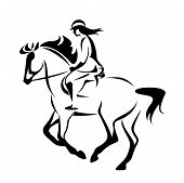 Woman Riding Horse In Equine Sport Competition - Black And White Vector Rider Outline poster