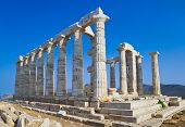 picture of poseidon  - Poseidon Temple at Cape Sounion near Athens Greece  - JPG