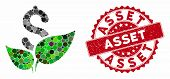 Mosaic Agriculture Startup And Grunge Stamp Watermark With Asset Caption. Mosaic Vector Is Created W poster
