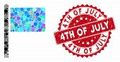 Mosaic Flag Pointer And Grunge Stamp Seal With 4th Of July Phrase. Mosaic Vector Is Created With Fla poster