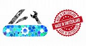 Mosaic Swiss Knife And Rubber Stamp Seal With Made In Switzerland Phrase. Mosaic Vector Is Formed Wi poster
