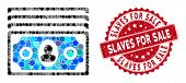 Mosaic Banknotes And Distressed Stamp Seal With Slaves For Sale Text. Mosaic Vector Is Composed With poster