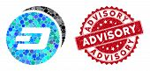 Mosaic Dash Coins And Distressed Stamp Watermark With Advisory Text. Mosaic Vector Is Created With D poster