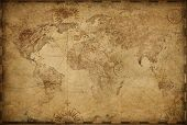 Vintage old world map based on image furnished by NASA poster
