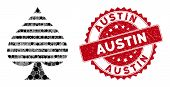 Mosaic Peaks Suit And Rubber Stamp Seal With Austin Phrase. Mosaic Vector Is Created From Peaks Suit poster