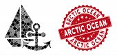 Mosaic Marine And Distressed Stamp Seal With Arctic Ocean Phrase. Mosaic Vector Is Formed With Marin poster