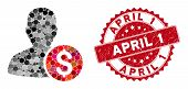 Mosaic Investor And Grunge Stamp Seal With April 1 Phrase. Mosaic Vector Is Composed With Investor I poster