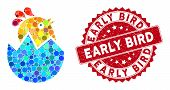 Mosaic Hatch Chick And Grunge Stamp Seal With Early Bird Phrase. Mosaic Vector Is Created With Hatch poster