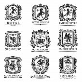 Heraldic Animals, Royal Heraldry Shields With Dragons And Medieval Creatures. Vector Pegasus Horse A poster