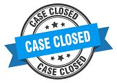 Case Closed Label. Case Closed Blue Band Sign. Case Closed poster