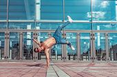 Handstand In Jump, Young Active Dancer, Trained Tanned Torso, Sport Man, City, Pose Break Dancer, Hi poster
