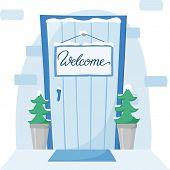 Front Door With Welcome Sign In Winter, Door With Christmas Trees In Pots In Snow, Entrance Plaque,  poster