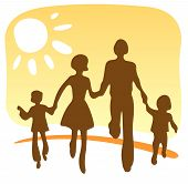 picture of family fun  - Stylized silhouettes of the happy family on a yellow background - JPG