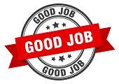 Good Job Label. Good Job Red Band Sign. Good Job poster