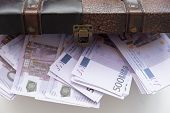 Open Chest With Lots Of Money Euro Banknotes. Concept Of Wealth And Abundance. poster