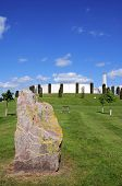 The Armed Forces Memorial With A Large Rock In The Foreground At The National Memorial Arboretum, Al poster