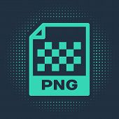 Green Png File Document. Download Png Button Icon Isolated On Blue Background. Png File Symbol. Abst poster