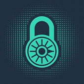 Green Safe Combination Lock Wheel Icon Isolated On Blue Background. Combination Padlock. Security, S poster