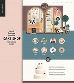 Cake Shop -small Business Illustrations -landing Page Design Template -modern Flat Vector Concept Il poster