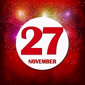 November 27 Icon. For Planning Important Day. Banner For Holidays And Special Days With Fireworks. N poster