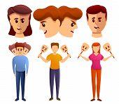 Bipolar Disorder Icons Set. Cartoon Set Of Bipolar Disorder Vector Icons For Web Design poster