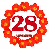 November 28 Icon. For Planning Important Day. Banner For Holidays And Special Days With Flowers. Twe poster
