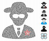 Kgb Spy Icon Mosaic Of Joggly Items In Variable Sizes And Color Tints, Based On Kgb Spy Icon. Vector poster