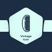 Grunge Line Hairbrush Icon Isolated On Blue Background. Comb Hair Sign. Barber Symbol. Monochrome Vi poster