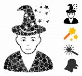 Magic Master Icon Composition Of Unequal Parts In Different Sizes And Color Tinges, Based On Magic M poster