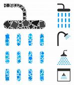 Shower Icon Composition Of Joggly Pieces In Different Sizes And Color Tones, Based On Shower Icon. V poster