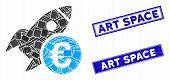 Mosaic Euro Startup Rocket Icon And Rectangular Rubber Prints. Flat Vector Euro Startup Rocket Mosai poster