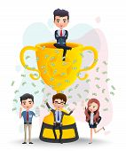 Business Character In Achievement Vector Concept. Business Employee Characters With Promotion Sittin poster